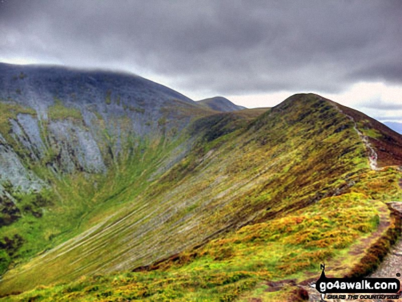 Skiddaw, Skiddaw (Little Man), Carl Side, Long Side, Longside Edge and the upper reaches of Southerndale from Ullock Pike