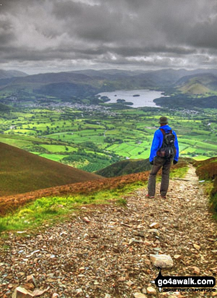 Descending Carl Side towards the White Stones with a fine view of Derwent water