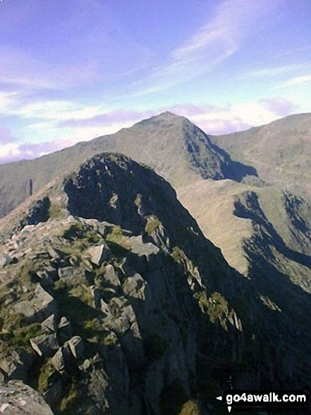 Y Lliwedd summit from Y Lliwedd (East Top) with Snowdon (Yr Wyddfa) in the distance