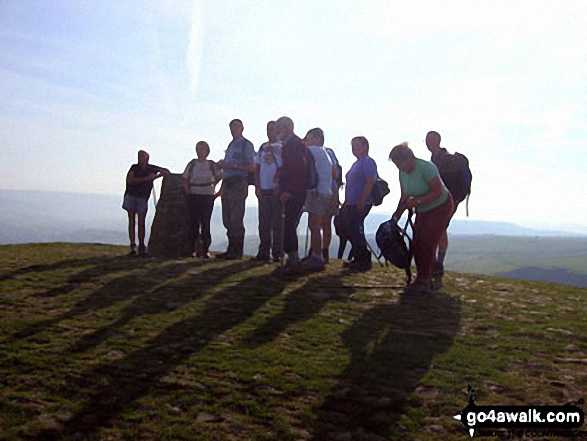 A group of Northampton Ramblers on the top of Mam Tor. Walk route map d158 Sparrowpit and Mam Tor from Castleton photo