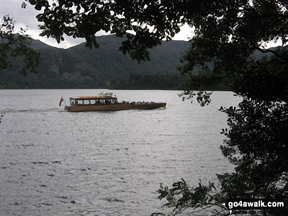 The Derwent Water Launch cruising Derwent Water from Brandlehow Bay. Walk route map c399 Cat Bells and Derwent Water from Keswick photo