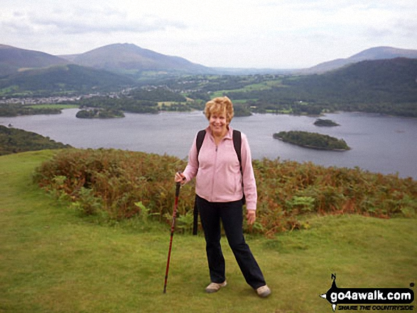Derwentwater from Cat Bells. Walk route map c399 Cat Bells and Derwent Water from Keswick photo
