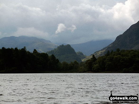 Castle Crag from the Derwent Water launch. Walk route map c399 Cat Bells and Derwent Water from Keswick photo