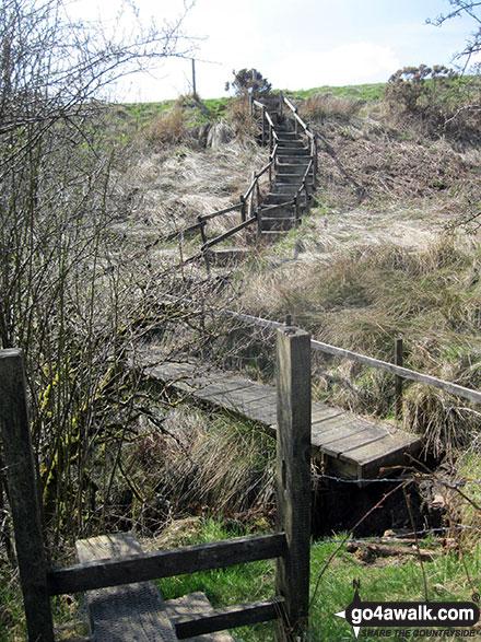 Crossing a stream on Moorside