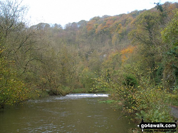 The River Wye in Water-cum-Jolly Dale. Walk route map d113 The Monsal Trail, Water-cum-Jolly Dale and Miller's Dale from Miller's Dale Station photo
