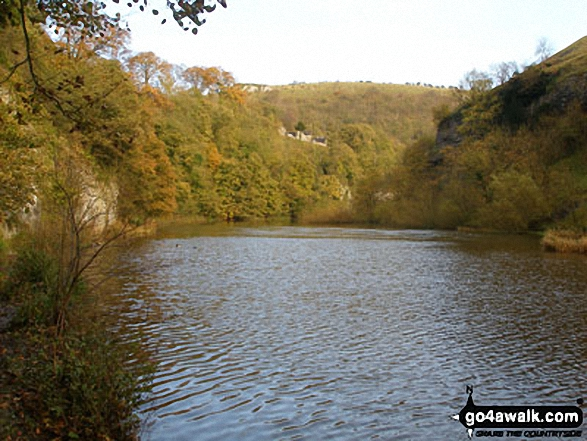 The River Wye in Water-cum-Jolly Dale. Walk route map d202 The Monsal Trail, Water-cum-Jolly Dale and Monsal Head from Miller's Dale Station photo