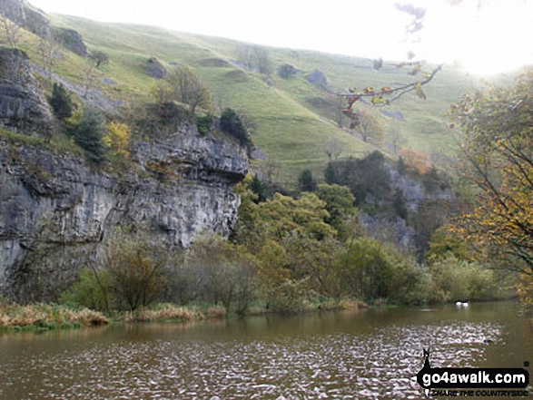 The River Wye in Water-cum-Jolly Dale. Walk route map d265 The Monsal Trail and Taddington from Wye Dale photo