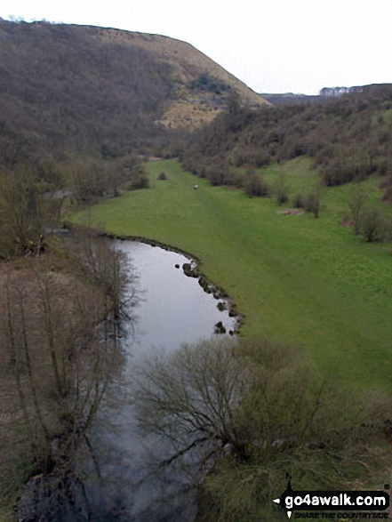 The River Wye from the top of Monsal Head Viaduct. Walk route map d230 Monsal Dale from Ashford in the Water photo