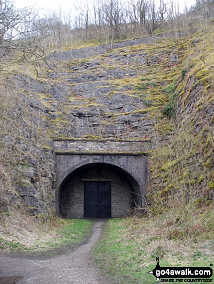 The blocked up tunnel entrance at Monsal Head. Walk route map d160 Upperdale, Water-cum-Jolly Dale and The Monsal Trail from Monsal Head photo