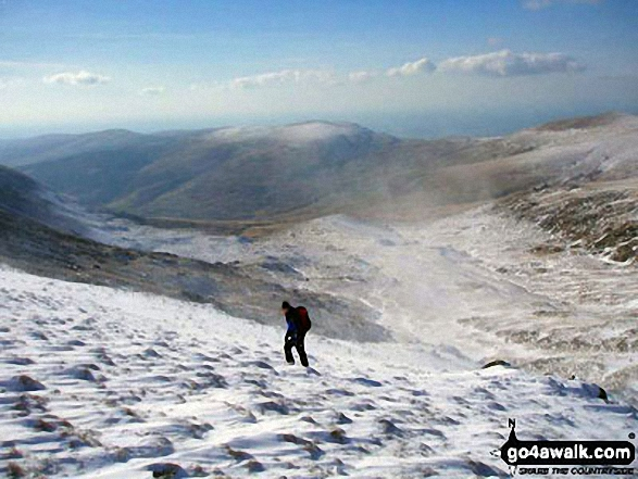 Kevin walking in spindrift on Mynydd Pencoed