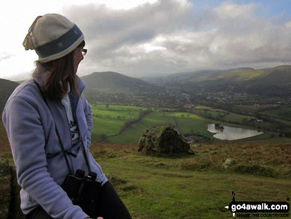 Ann on Caer Caradoc Hill overlooking Church Stretton