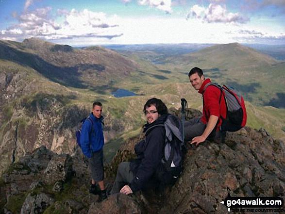 James, James Lawton and Pete on Snowdon. Walk route map gw140 Snowdon via The Rhyd Ddu Path photo