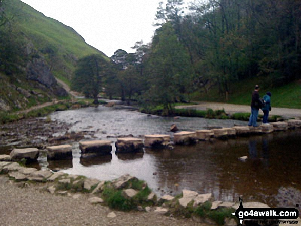Dove Dale Stepping Stones across the River Dove. Walk route map s111 Dove Dale, Ilam, Castern Hall and Stanshope from Milldale photo
