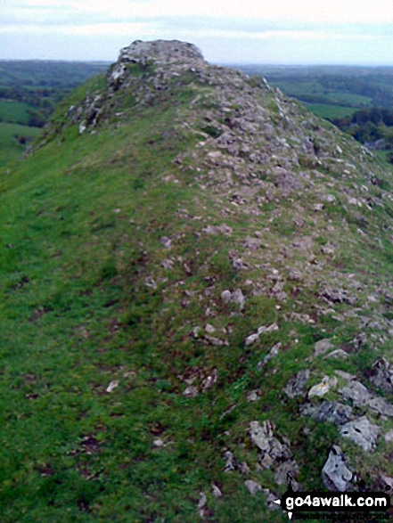 Thorpe Cloud summit. Walk route map s111 Dove Dale, Ilam, Castern Hall and Stanshope from Milldale photo