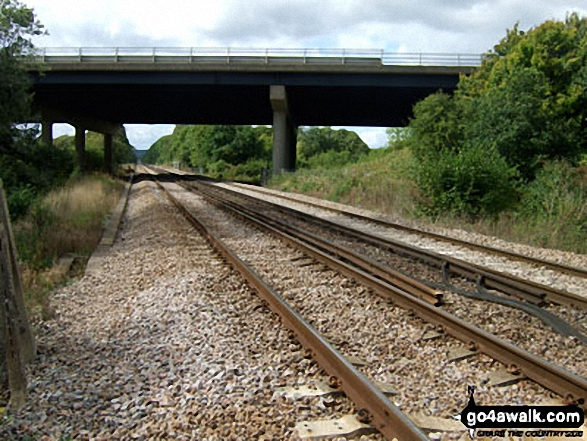 Redhill to Tonbridge Main Railway Line where it passes under the M23, South Nutfield. Walk route map su125 South Nutfield from Bletchingley photo
