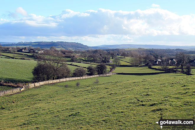 The beautiful Derbyshire countryside from the bottom of Longstone Edge
