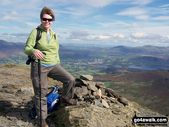 Me on top of a fairly windy Grisedale Pike. Walk route map c408 Grisedale Pike and Causey Pike from Braithwaite photo