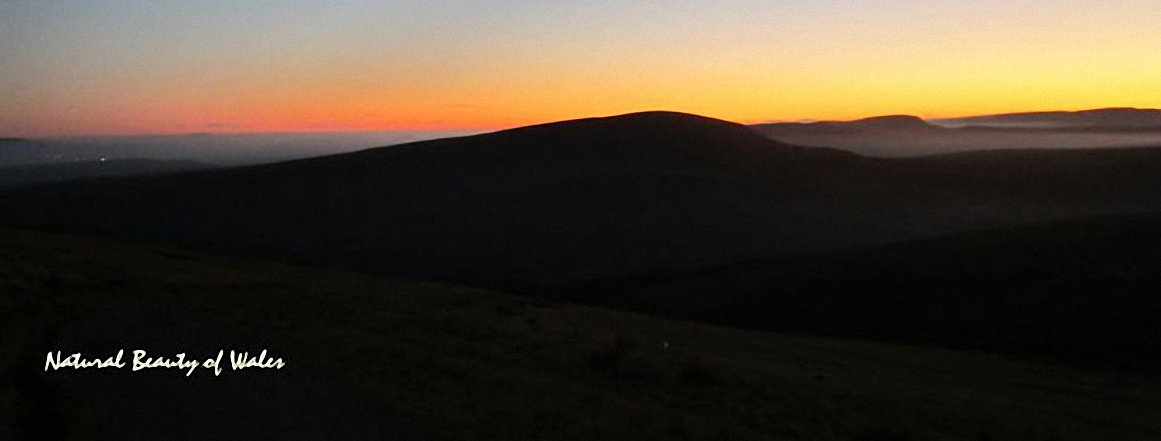 Corn Du and the Brecon Beacons from the summit of Pen y Fan just after sunset