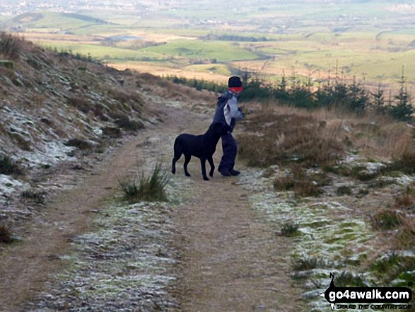 My youngest son and youngest dog on their way up Grike near Ennerdale Water