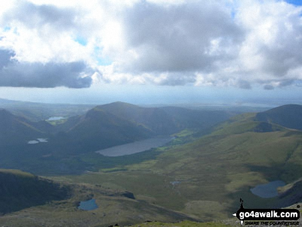 Llyn Cwellyn and Mynydd Mawr (Llyn Cwellyn)  (centre left) and Moel Eilio (Llanberis) (far right) from Snowdon (Yr Wyddfa). Walk route map gw105 Snowdon via The Watkin Path from Nantgwynant photo