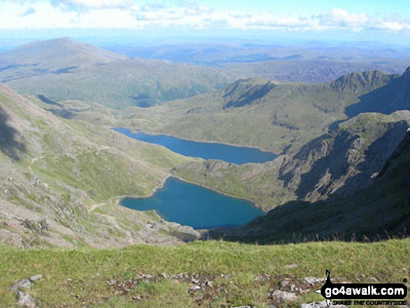 Glaslyn (front) and Llyn Llydaw with The Pyg Track (far left) and the Miners' Track (centre left) from Snowdon (Yr Wyddfa). Walk route map gw107 Snowdon and Yr Aran from Rhyd Ddu photo