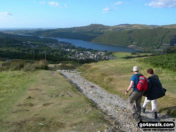 Approcahing Llanberis and Llyn Peris on the Llanberis Path up Snowdon (Yr Wyddfa). Walk route map gw186 Snowdon and Moel Cynghorion from Llanberis photo