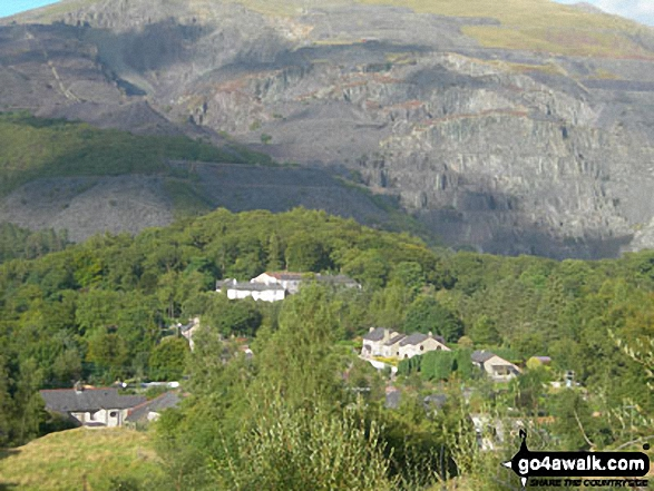 Coed Victoria (with a disused Slate Quarries beyond) from the Llanberis Path up Snowdon (Yr Wyddfa). Walk route map gw158 Snowdon, Moel Cynghorion, Foel Gron and Moel Eilio from Llanberis photo