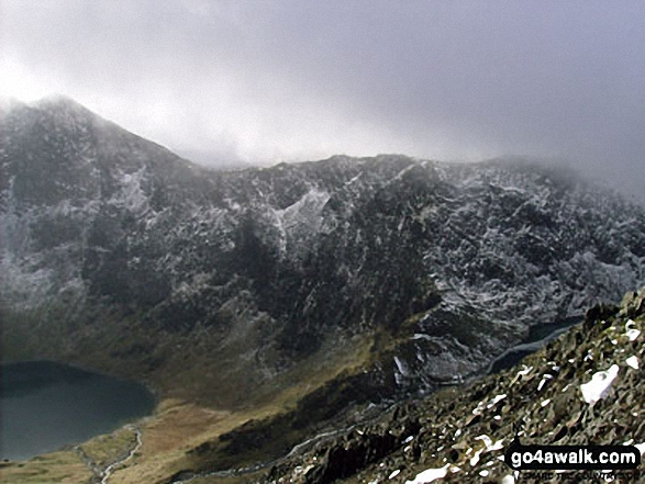 Glaslyn (bottom left) and Snowdon (Yr Wyddfa) from Crib Goch in the snow