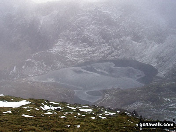 Glaslyn (partially frozen) from Crib Goch