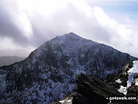 Snowdon (Yr Wyddfa) in the snow from Crib Goch
