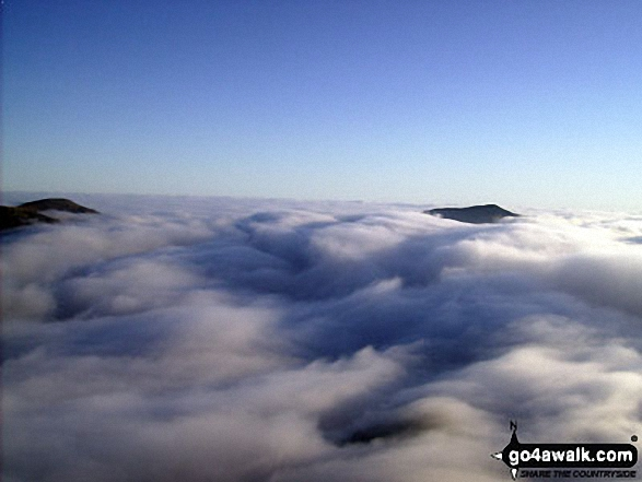 Temperature inversion seen from Snowdon (Yr Wyddfa). Walk route map gw158 Snowdon, Moel Cynghorion, Foel Gron and Moel Eilio from Llanberis photo