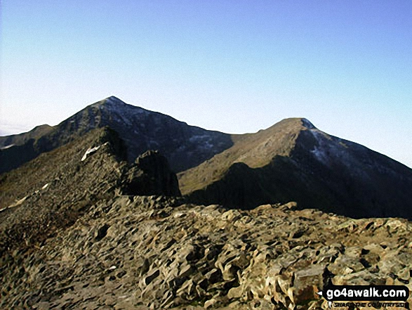 On Crib Goch. Walk route map gw198 The Welsh 3000's (Snowdon Area) from Pen y Pass photo