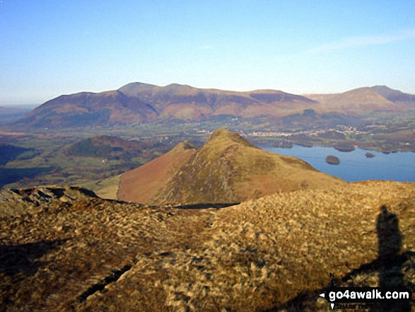 Cat Bells (Catbells) (foreground) with Derwent Water, Keswick and Skiddaw (centre left) and Blencathra (right) from Maiden Moor