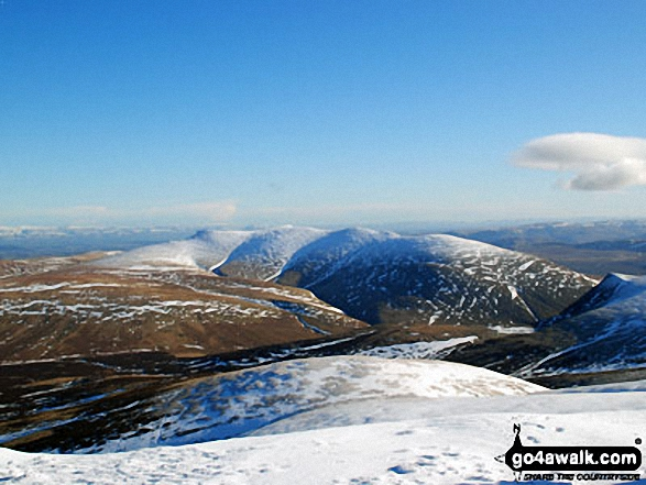 A snow capped Blencathra or Saddleback (Hallsfell Top) viewed from the summit of Skiddaw