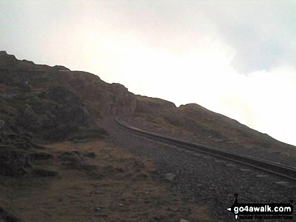 Snowdon Mountain Railway. Walk route map gw107 Snowdon and Yr Aran from Rhyd Ddu photo