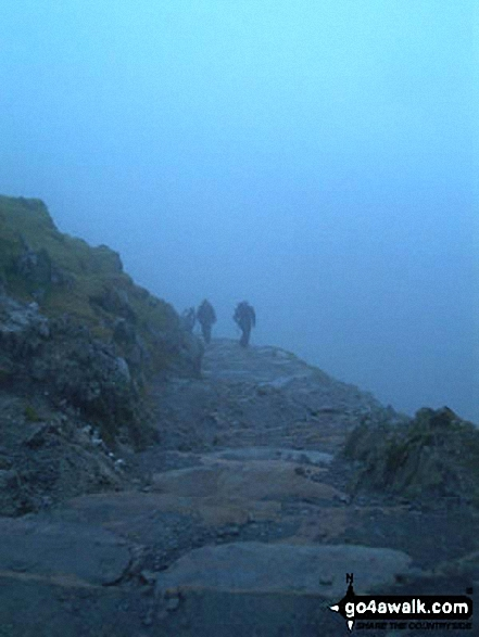 Approaching Snowdon (Yr Wyddfa) Summit. Walk route map gw100 Mount Snowdon (Yr Wyddfa) from Pen y Pass photo