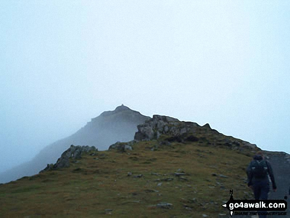 Approaching Snowdon (Yr Wyddfa) Summit. Walk route map gw117 Snowdon and Yr Aran via The Watkin Path from Nantgwynant photo