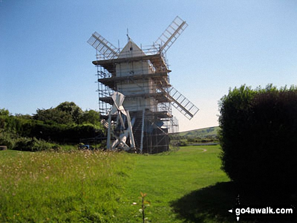 Jill Windmill (of The Jack and Jill Windmills) above Clayton. Walk route map es145 Jack and Jill from Ditchling Beacon photo