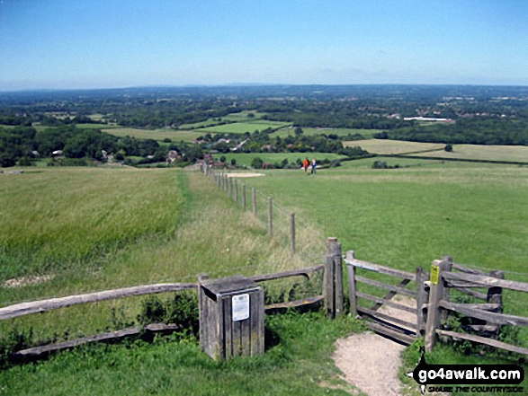 Clayton and The South Downs from The Jack and Jill Windmills. Walk route map es145 Jack and Jill from Ditchling Beacon photo