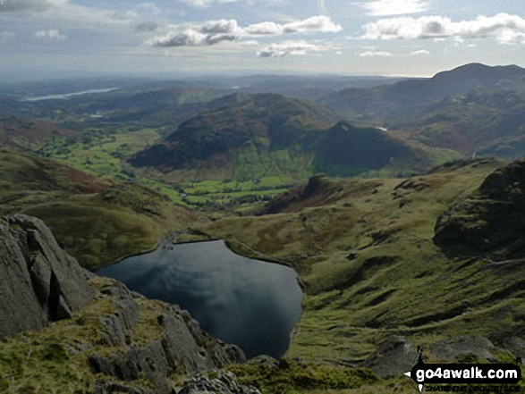 Stickle Tarn, Great Langdale and Lingmoor from Pavey Ark, The Langdale Pikes