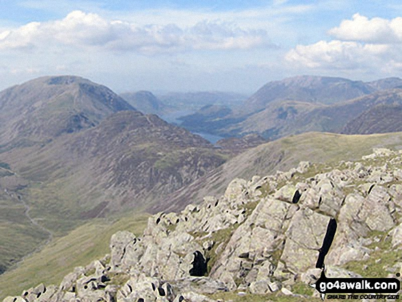 High Stile, High Crag & Hay Stacks, Crummock Water & Buttermere and Grasmoor from the top of Green Gable. Walk route map c235 The Deepdale Horseshoe from Patterdale photo