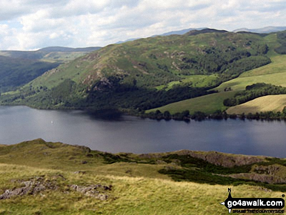 Gowbarrow Fell (Airy Crag) from Hallin Fell summit. Walk route map c304 Beda Head and Place Fell from Howtown photo