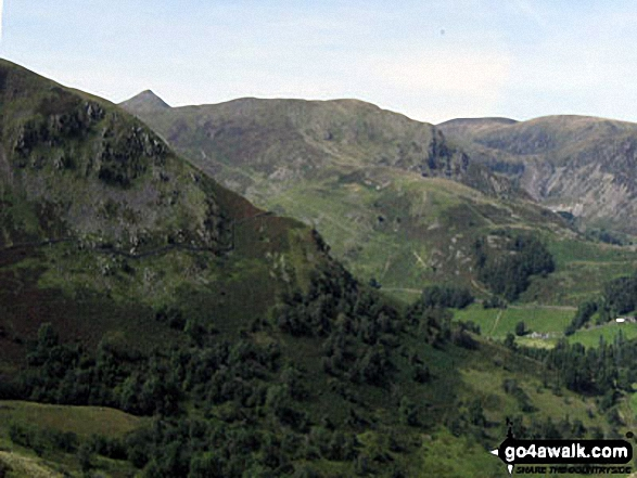 The shoulder of St Sunday Crag and Birks (left), Catstye Cam, Birkhouse Moor (centre) and Sheffield Pike from Arnison Crag, Patterdale