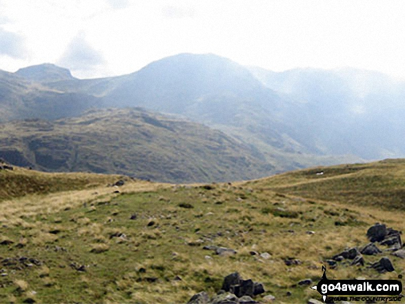 Esk Pike (far left), Great End (centre) and Scafell Pike from Base Brown