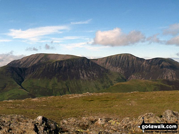 Grasmoor (back), Whiteless Pike, Wandope and Crag Hill (Eel Crag), Sail (mid distance) and Knott Rigg (foreground right) from Robinson. Walk route map c141 Great Gable and Pillar from Wasdale Head, Wast Water photo