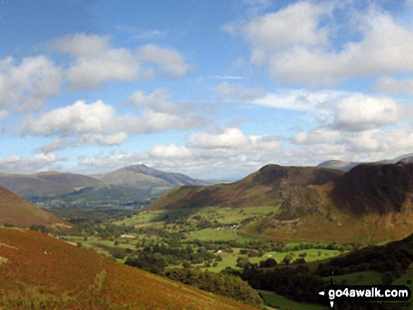 Keswick and The Skiddaw Masiff (distance) and Cat Bells (Catbells) (right) from Blea Crags