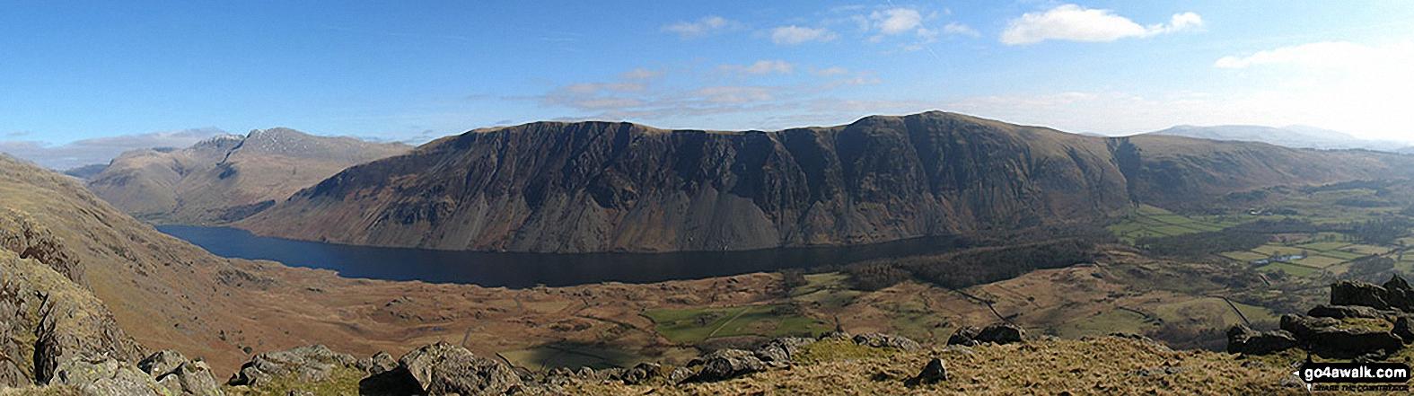 Wast Water with the Scafel Massive (far left- featuring Ling Mell, Great End, Broad Crag, Ill Crag, Scafell Pike, Symonds Knott and Sca Fell) and Illgill Head (centre) and Whin Rigg (centre right) above the Wast Water screes from Buckbarrow