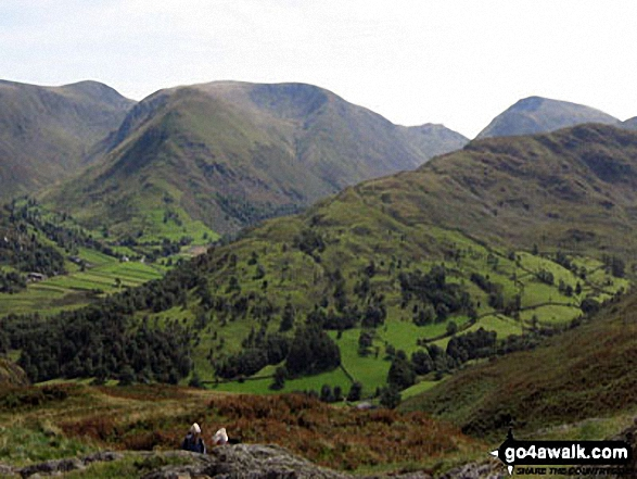 Thornthwaite Crag (left), Hartsop Dodd and Stony Cove Pike (Caudale Moor) (centre), Red Screes (right) and the shoulder of Hartsop above How (foreground) from Arnison Crag, Patterdale