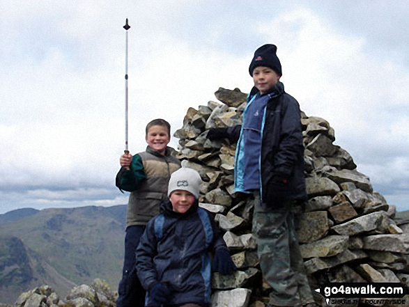 Ollie, Max and James on top of Lingmell before climbing Scafell Pike to round off the day. Walk route map c197 Lingmell and Scafell Pike from Wasdale Head, Wast Water photo