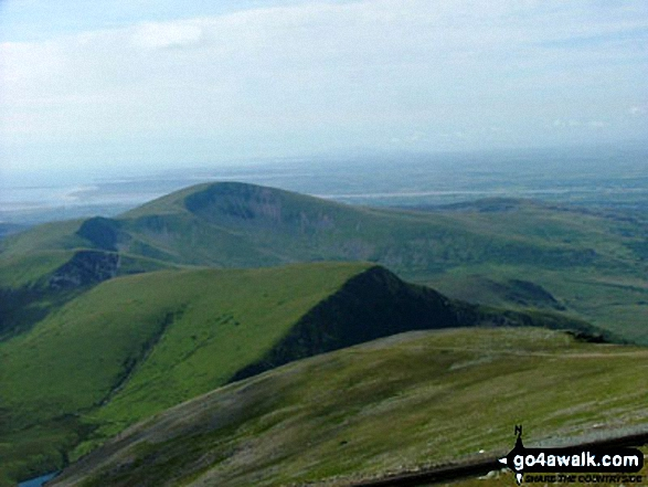 Cefn-Du, Moel Eilio (Llanberis), Foel Gron, Foel Goch and Moel Cynghorion from Snowdon (Yr Wyddfa). Walk route map gw117 Snowdon and Yr Aran via The Watkin Path from Nantgwynant photo